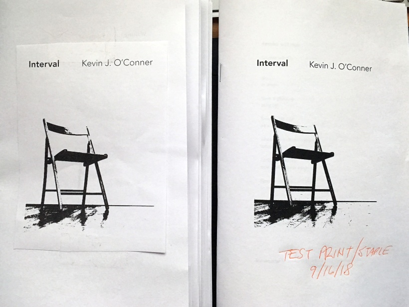 Photos of Interval chapbook—mock-up on the left, test print on the right.