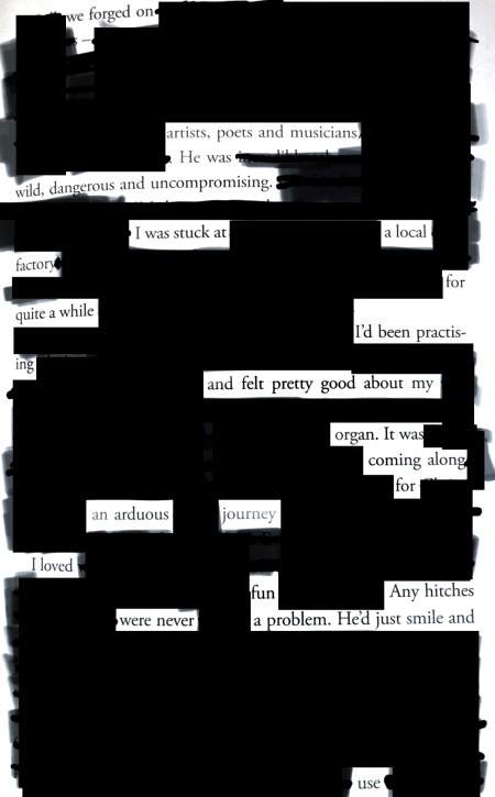p. 143 from art sex music by Cosey Fanni Tutti, showing the parts blacked out to create this erasure poem